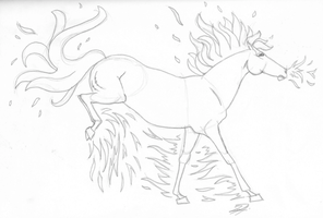 Ponita or Rapidash Lineart by understated411