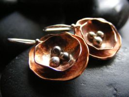 Cute Copper Flower Earrings by MoonLitCreations