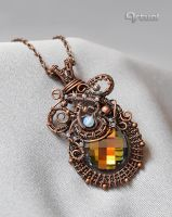 Wire pendant with Swarovski crystal and Opalite by artual