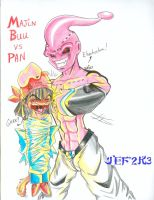 Kid Buu Beats Up Pan by alaer