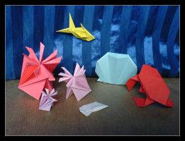 Origami Sea Life by lonely--soldier