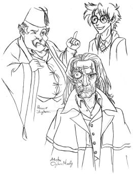 HP Slughorn and Alastor Moody by DemonCartoonist