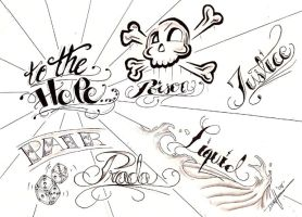 Lettering Tattoo Flash Page by aworldasleep