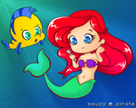 Ariel and Flounder by saucypirate