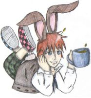 Ozzy as the march hare by EllenorMererid