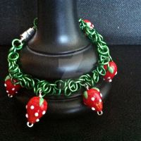Sweet Strawberry Chainmaille Bracelet by Rosie-Periannath