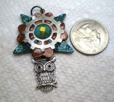 Gear Flower Necklace Pendant with Owl Charm by Brisbykins