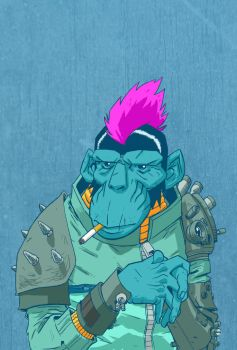 cyberpunk chimp by PINGriff