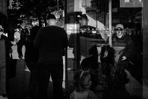 Composition with People and Bus Stop by IFedorovskaya