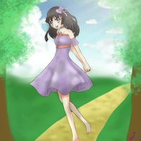 Happy girl under the trees by artistlaura
