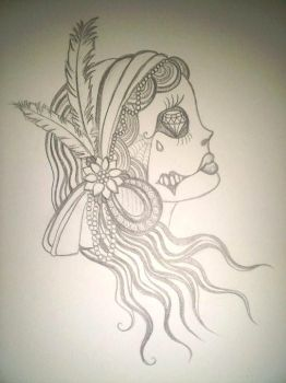day of the dead Gypsy sketch by scalliewag