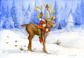 Winter Elf and Deer by JoannaBromley