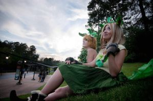Twin Leafeon Gijinkas Cosplay by firecloak