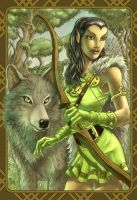 Elf with wolf by stu-b