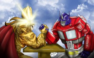 Emperor of menkind vs Optimus by Axcido