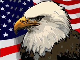 Eagle: Vector Graphic with Flag by AskGriff