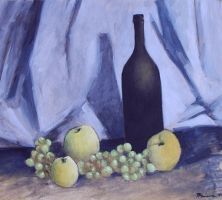 Still Life With Bottle Oil Paint by Boias