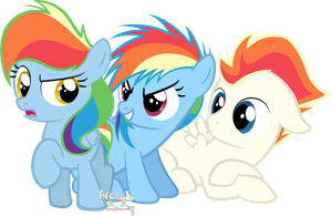Two little fillies... And a colt. by Arceus55
