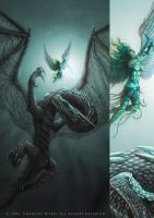 Angel vs Dragon, - more detail by Wardem