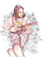 Erika and her Ukulele friend. by deadlymike