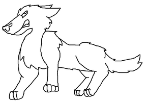 Angry Wolf Lineart by snails1000