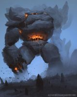 Rock Golem Sketch by AlexKonstad
