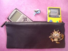 Cross Stitch Meowth big pencil bag by Miloceane