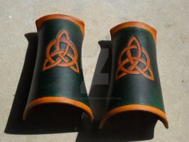 Green and Gold Trinity Bracers by RuehlLeatherWorks