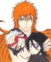 Long hair Ichigo and Rukia by Dark-Skater-Girl