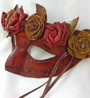 Woodland Rustic Leather Rose-Flower Mask by DaraGallery