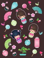 kokeshi Cuties by minercia