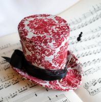 Gothic Voodoo Mini Top Hat in Red and White Damask by RagDolliesMadhouse