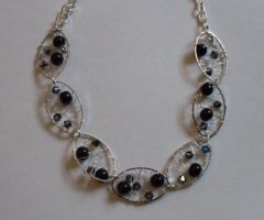 Black Crystal Evening necklace by MadDani