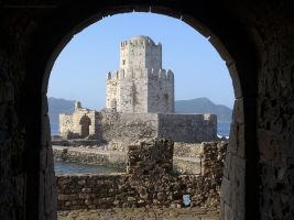 Methoni Fortress Through Arch by bobswin