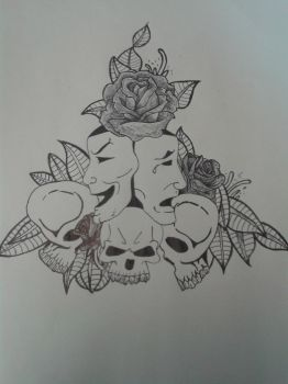 Skull And Rose Tattoo Design by ProTxtics