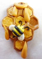 Polymer Clay Honeycomb Pendant by Saru-Hime