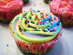 Triple Rainbow Cupcakes by dashedandshattered
