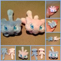 Micro Mew Beanie Plush  FOR SALE (Updated Pattern) by Rainbow-Rocket