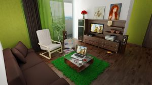Green and Brown living Room by shyntakun