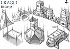Exaro Town Concept - Huts 2 by AaronQuinn