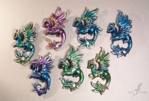 Dragon pendants by AlviaAlcedo