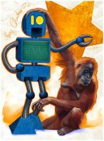 An Orang and blue robot by Seyreene
