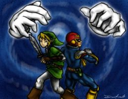 Link and C Falcon vs the Hands by danidipps