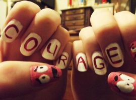 Courage the Cowardly Dog nails by JennyBean4u