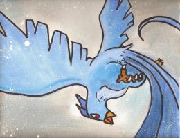 Articuno Pokemon watercolor painting by LightningChaser