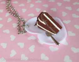 Chocolate Cake on a Plate Necklace by CantankerousCupcake