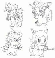 Fairy Tail X Pokemon Chibi set 1 (WIP) by Ryotsu-san