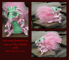 OOAK Pink and Green Dragon Sculpture by Canis-Angst