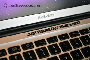 MacBook sticker BLACK Just figure out what's next by QuoteSteveJobs