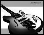 black and white geetar by SamInc04